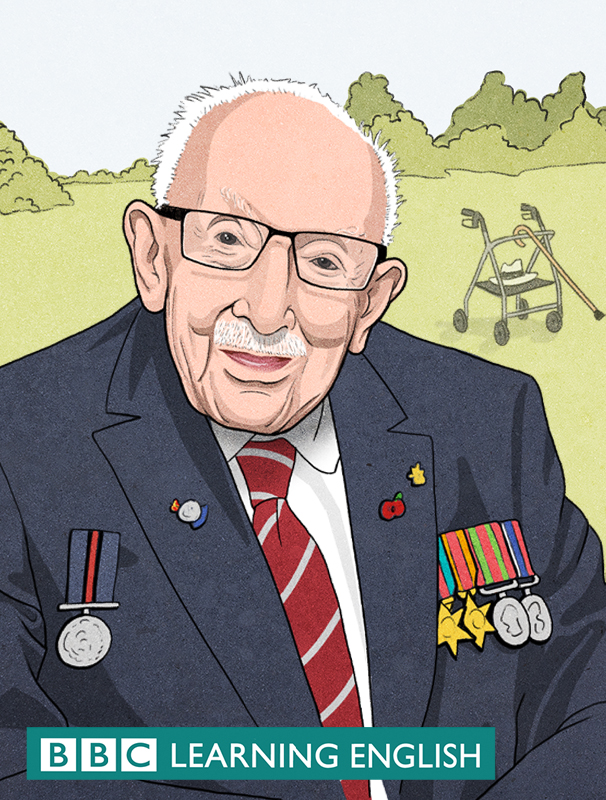 Drawing of Sir Captain Tom for BBC Learning English