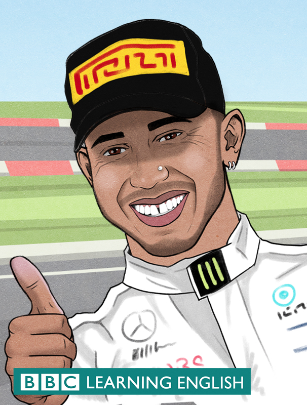 Illustation of Lewis Hamilton with racing track background for the BBC