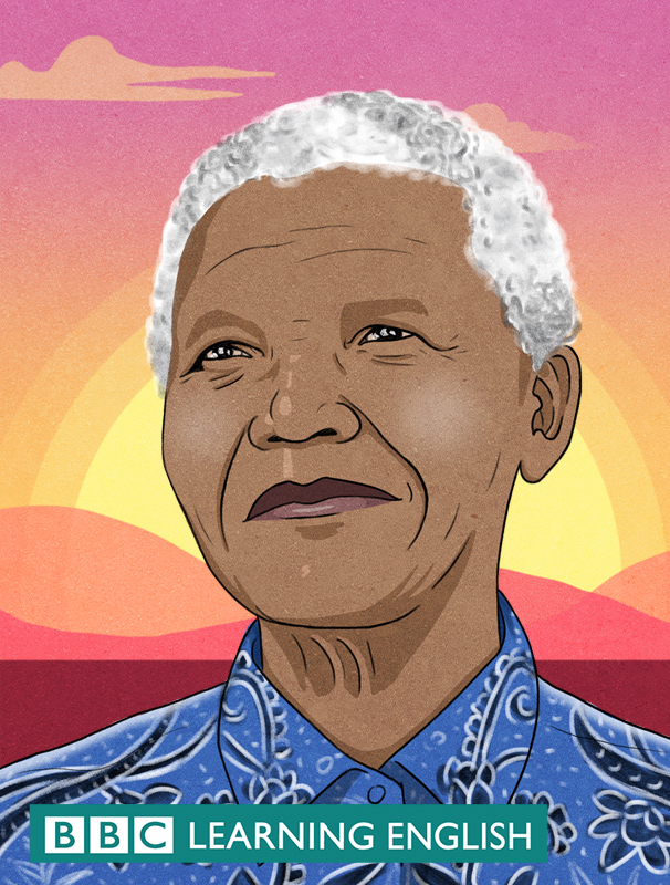 Illustration of Nelson Mandella with Sunset background