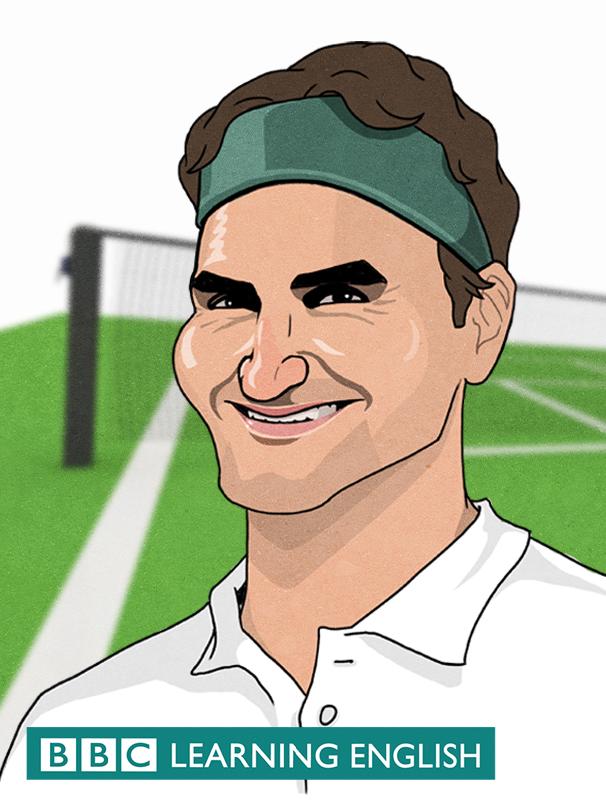 Illustation of Roger Federer with tennis cort background
