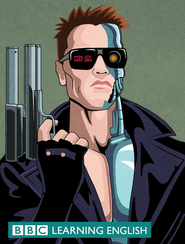 Stylised illustration of Arnies Terminator for BBC Learning English
